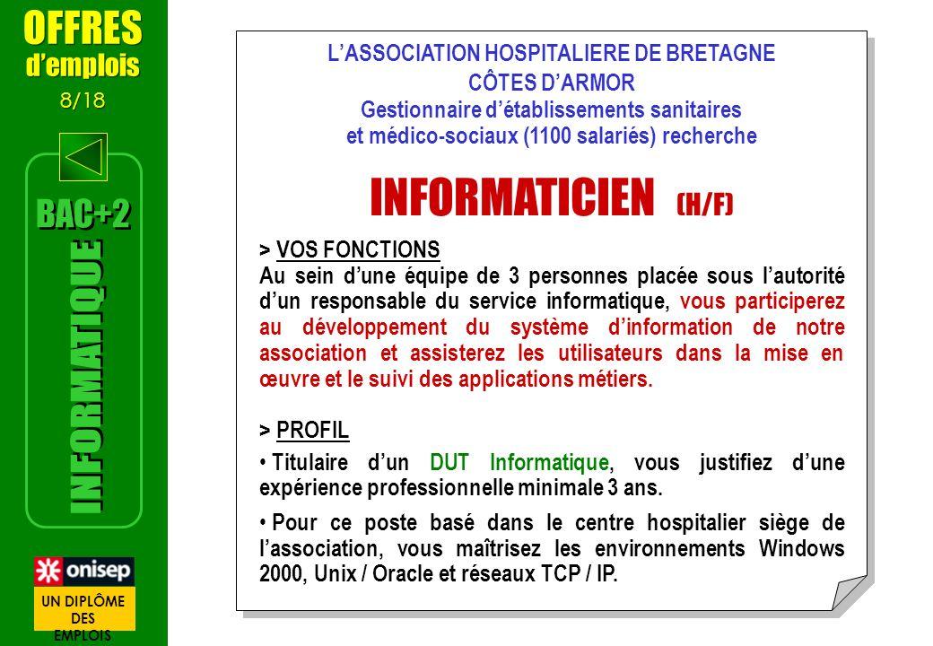 LASSOCIATION HOSPITALIERE DE BRETAGNE CÔTES DARMOR Gestionnaire détablissements sanitaires et médico-sociaux (1100 salariés) recherche INFORMATICIEN (