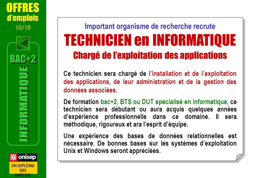 Important organisme de recherche recrute TECHNICIEN en INFORMATIQUE Chargé de lexploitation des applications Ce technicien sera chargé de linstallatio