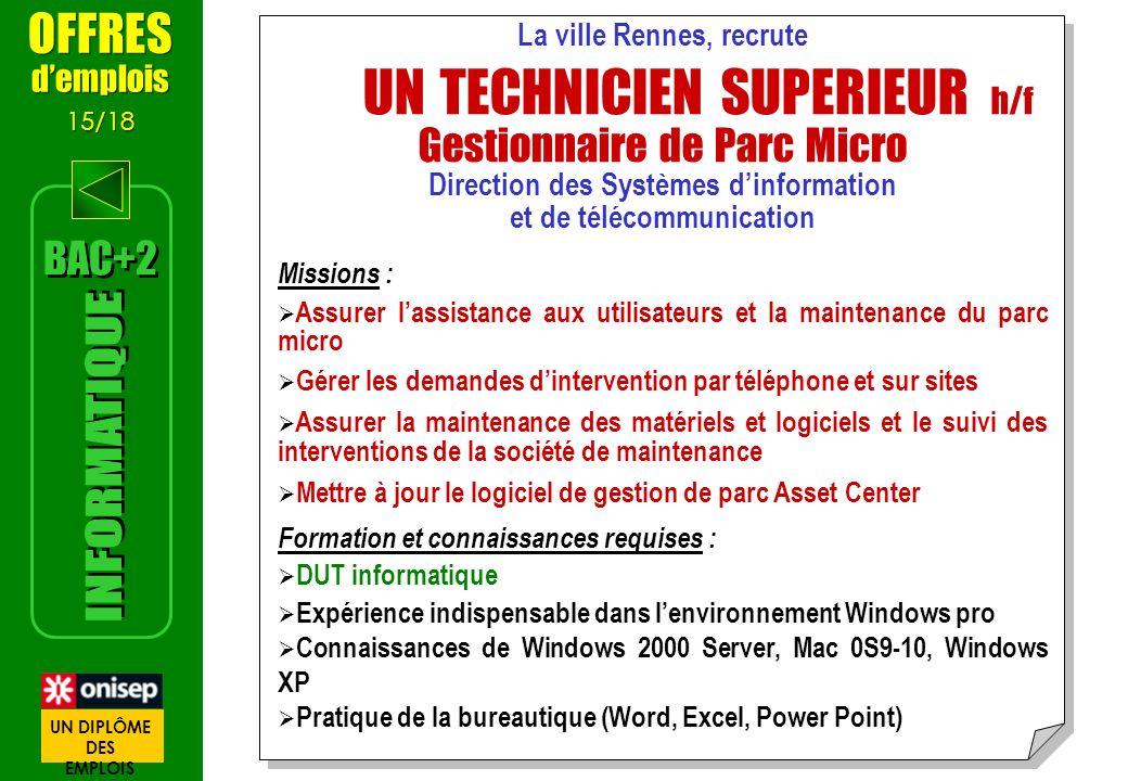 La ville Rennes, recrute UN TECHNICIEN SUPERIEUR h/f Gestionnaire de Parc Micro Direction des Systèmes dinformation et de télécommunication Missions :
