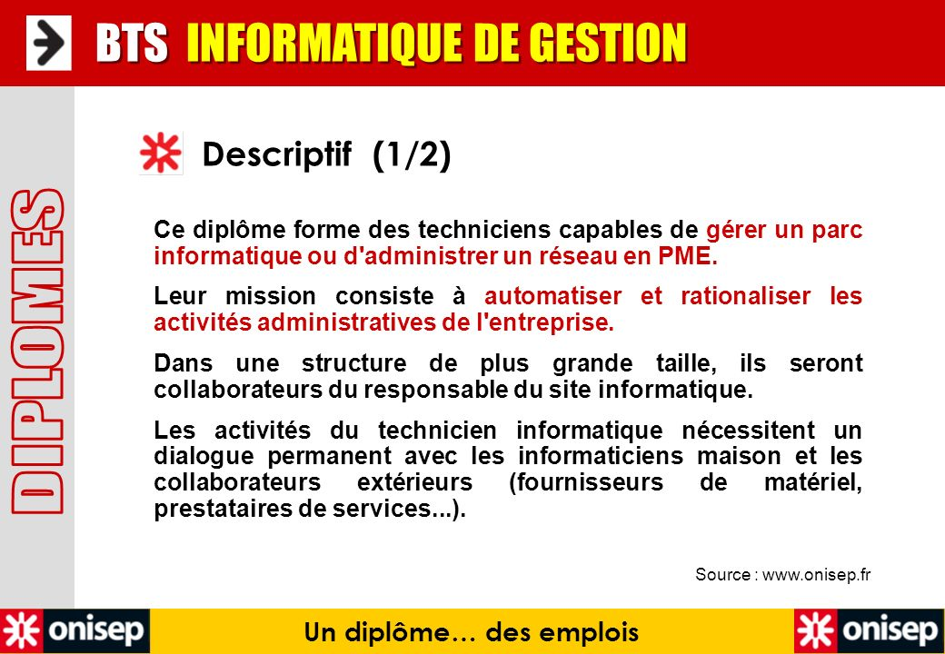 Source : www.onisep.fr Descriptif (1/2) BTS INFORMATIQUE DE GESTION Un diplôme… des emplois Ce diplôme forme des techniciens capables de gérer un parc