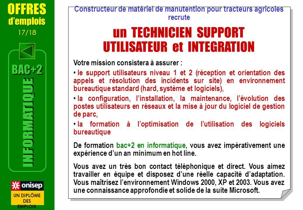 Constructeur de matériel de manutention pour tracteurs agricoles recrute un TECHNICIEN SUPPORT UTILISATEUR et INTEGRATION Votre mission consistera à a