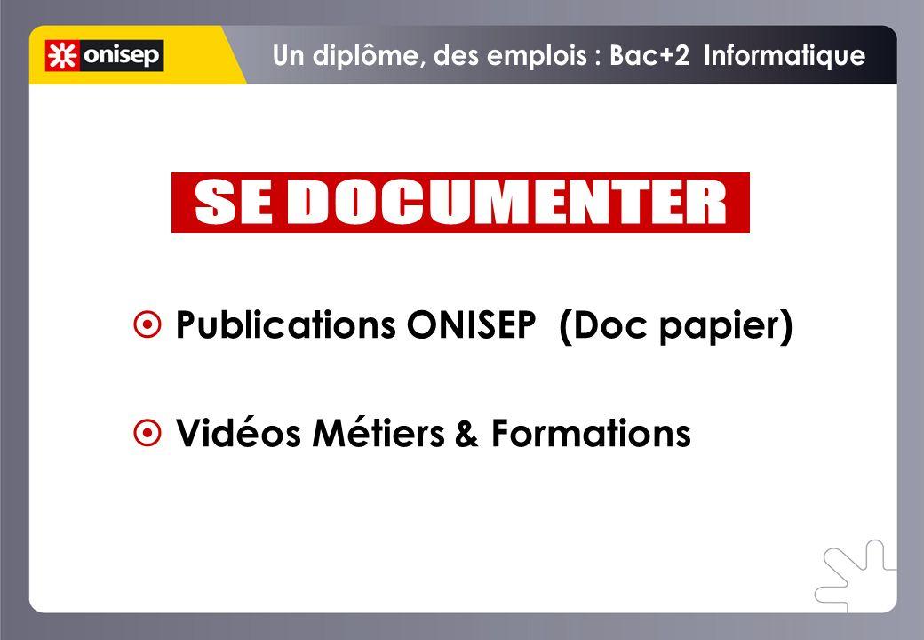 Publications ONISEP (Doc papier) Vidéos Métiers & Formations Publications ONISEP (Doc papier) Vidéos Métiers & Formations