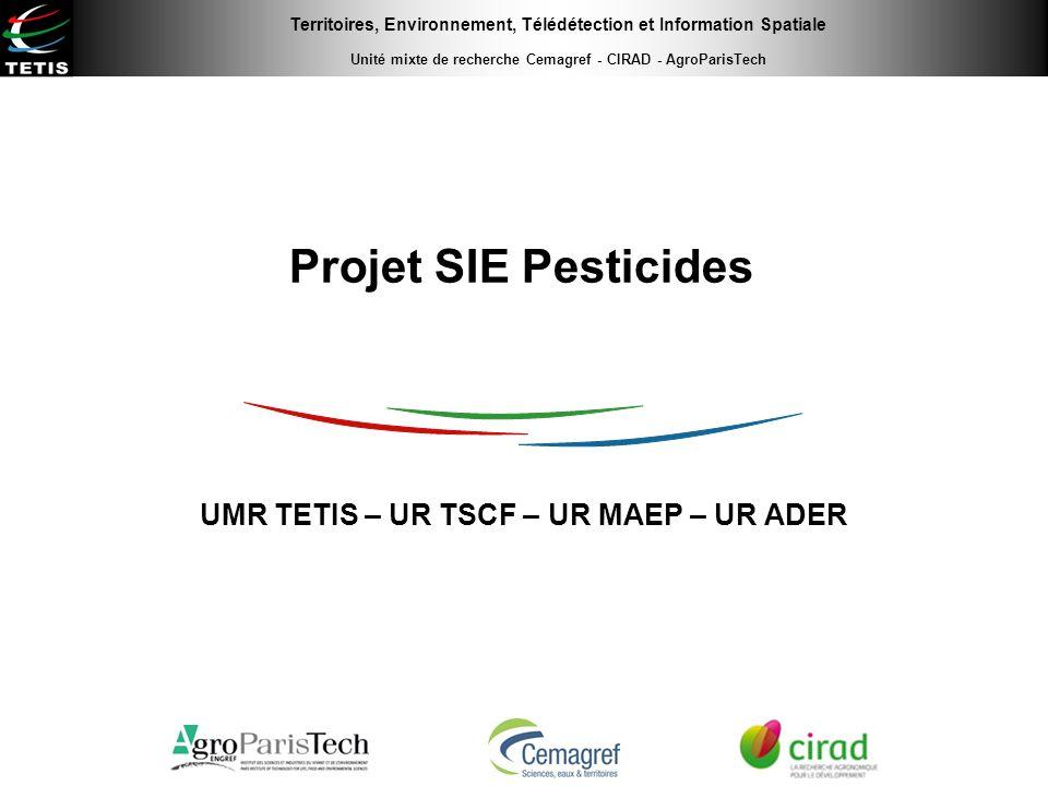 Territoires, Environnement, Télédétection et Information Spatiale Unité mixte de recherche Cemagref - CIRAD - AgroParisTech Projet SIE Pesticides UMR