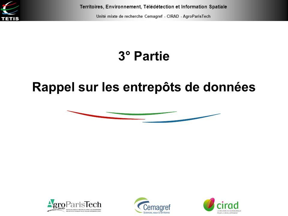 Territoires, Environnement, Télédétection et Information Spatiale Unité mixte de recherche Cemagref - CIRAD - AgroParisTech 3° Partie Rappel sur les e
