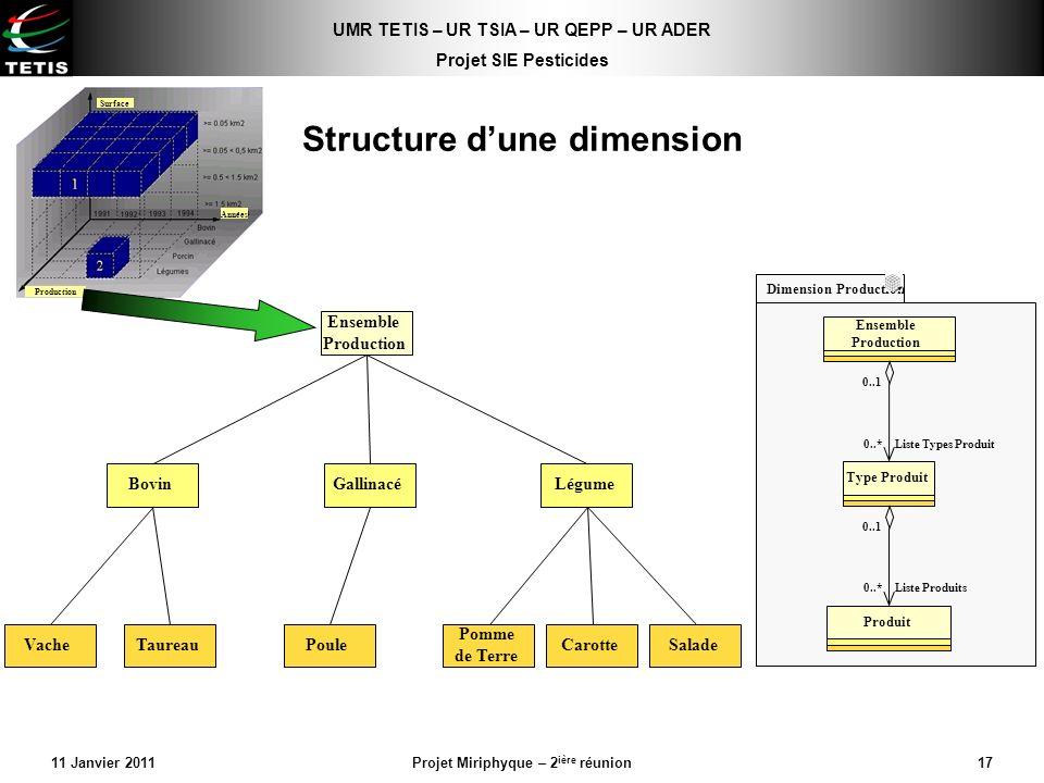UMR TETIS – UR TSIA – UR QEPP – UR ADER Projet SIE Pesticides 11 Janvier 2011Projet Miriphyque – 2 ière réunion17 Structure dune dimension Ensemble Pr