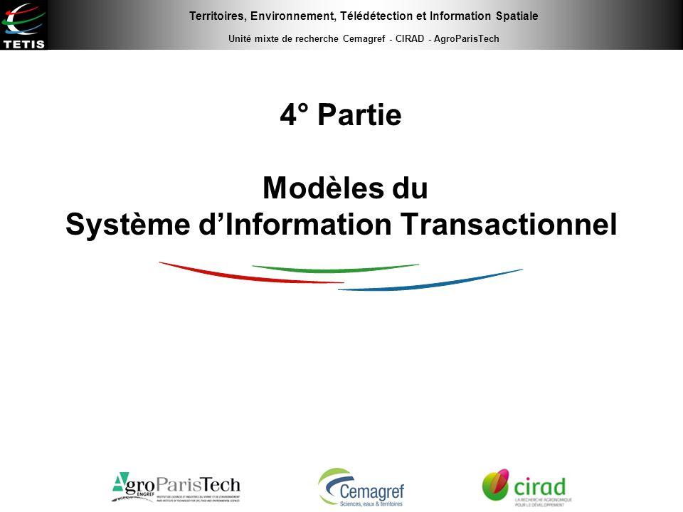 Territoires, Environnement, Télédétection et Information Spatiale Unité mixte de recherche Cemagref - CIRAD - AgroParisTech 4° Partie Modèles du Systè