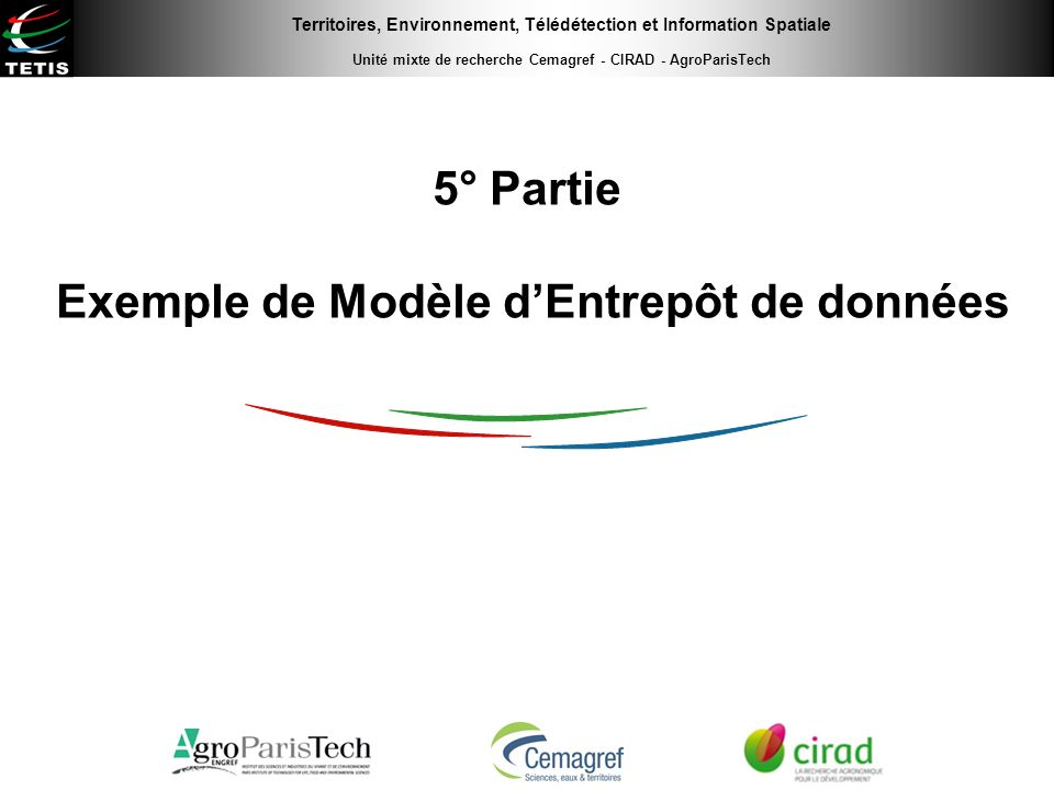 Territoires, Environnement, Télédétection et Information Spatiale Unité mixte de recherche Cemagref - CIRAD - AgroParisTech 5° Partie Exemple de Modèl