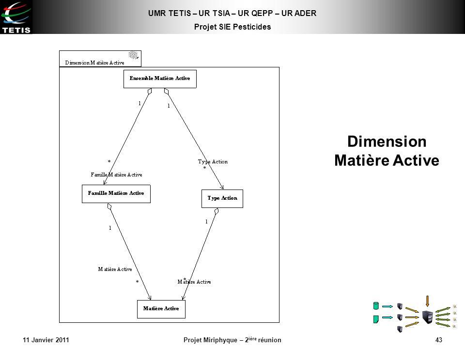 UMR TETIS – UR TSIA – UR QEPP – UR ADER Projet SIE Pesticides 11 Janvier 2011Projet Miriphyque – 2 ière réunion43 Dimension Matière Active