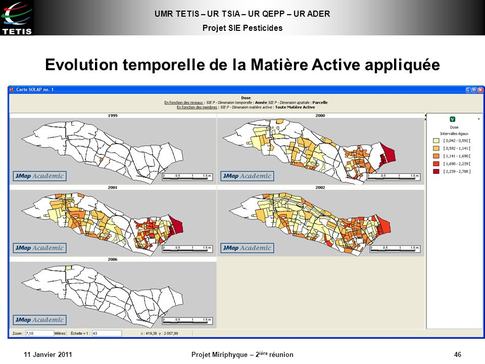 UMR TETIS – UR TSIA – UR QEPP – UR ADER Projet SIE Pesticides 11 Janvier 2011Projet Miriphyque – 2 ière réunion46 Evolution temporelle de la Matière A
