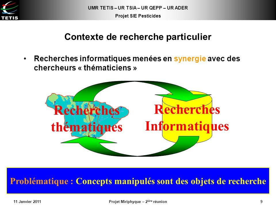 UMR TETIS – UR TSIA – UR QEPP – UR ADER Projet SIE Pesticides 11 Janvier 2011Projet Miriphyque – 2 ière réunion9 Contexte de recherche particulier Rec