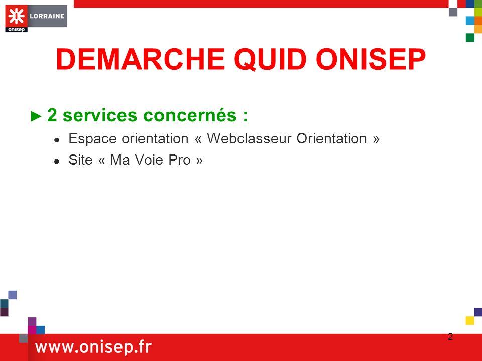 2 DEMARCHE QUID ONISEP 2 services concernés : Espace orientation « Webclasseur Orientation » Site « Ma Voie Pro »