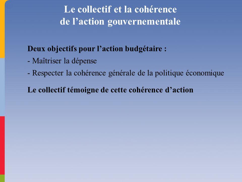 Deux objectifs pour laction budgétaire : - Maîtriser la dépense - Respecter la cohérence générale de la politique économique Le collectif témoigne de