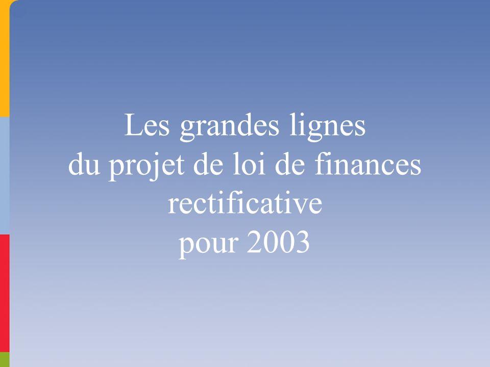 Les grandes lignes du projet de loi de finances rectificative pour 2003
