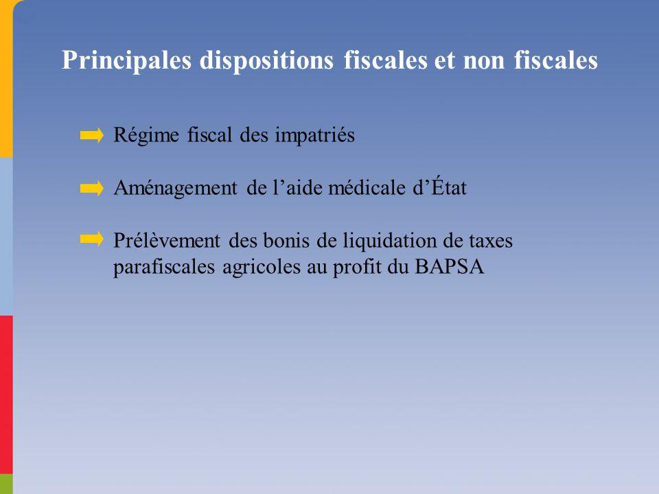 Principales dispositions fiscales et non fiscales Régime fiscal des impatriés Aménagement de laide médicale dÉtat Prélèvement des bonis de liquidation