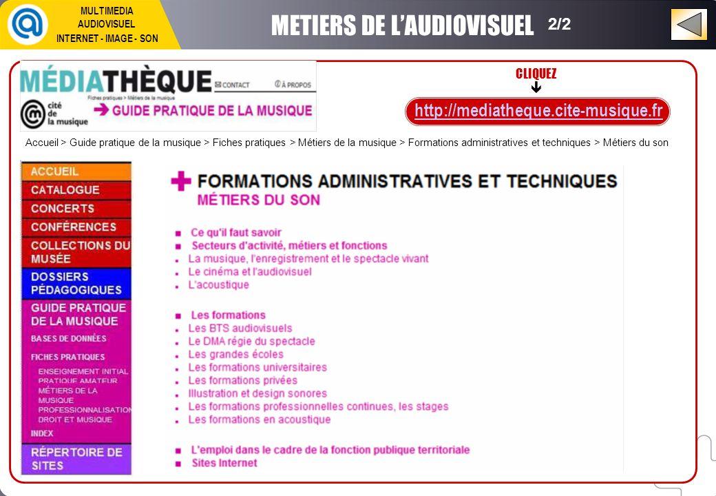 CLIQUEZ http://mediatheque.cite-musique.fr METIERS DE LAUDIOVISUEL 2/2 MULTIMEDIA AUDIOVISUEL INTERNET - IMAGE - SON Accueil > Guide pratique de la mu