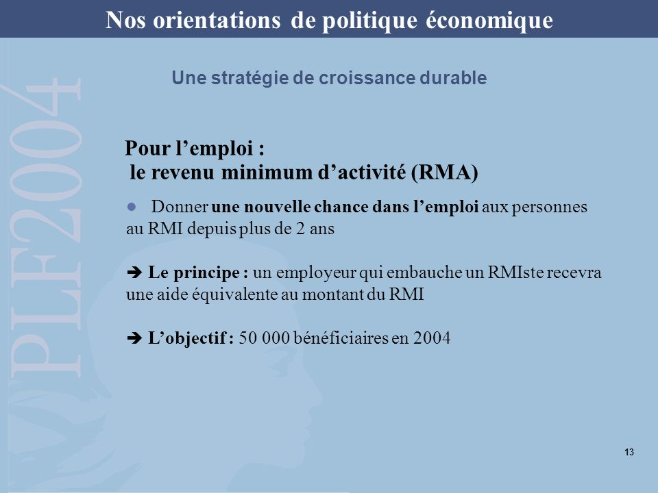 Pour lemploi : le revenu minimum dactivité (RMA) Nos orientations de politique économique Une stratégie de croissance durable Donner une nouvelle chan