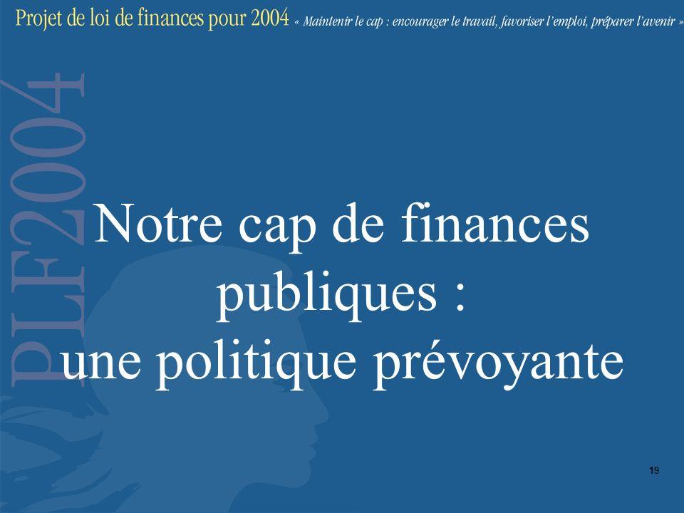 Notre cap de finances publiques : une politique prévoyante 19