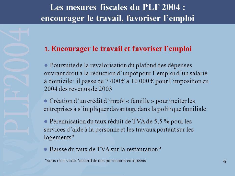 Les mesures fiscales du PLF 2004 : encourager le travail, favoriser lemploi 1. Encourager le travail et favoriser lemploi Poursuite de la revalorisati