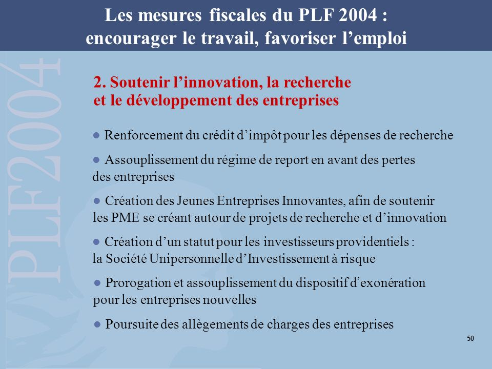 Les mesures fiscales du PLF 2004 : encourager le travail, favoriser lemploi Création du Plan dépargne retraite populaire Triplement du nombre de bénéficiaires de la réduction dimpôt en faveur des personnes dépendantes 3.
