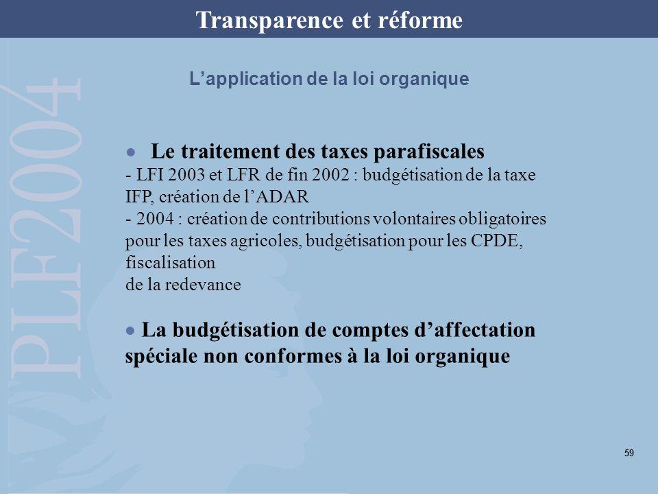 Lapplication de la loi organique Le traitement des taxes parafiscales - LFI 2003 et LFR de fin 2002 : budgétisation de la taxe IFP, création de lADAR