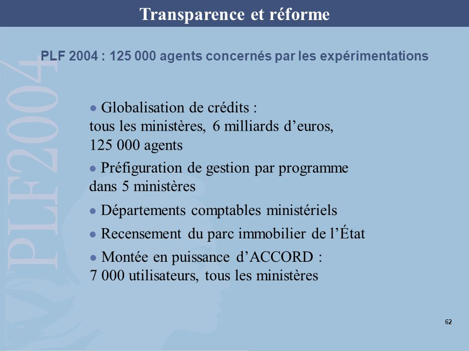 PLF 2004 : 125 000 agents concernés par les expérimentations Globalisation de crédits : tous les ministères, 6 milliards deuros, 125 000 agents Préfig