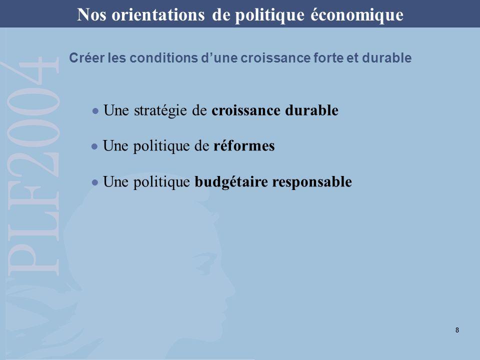 Nos orientations de politique économique Une stratégie de croissance durable Une politique budgétaire responsable Une politique de réformes Créer les conditions dune croissance forte et durable 8