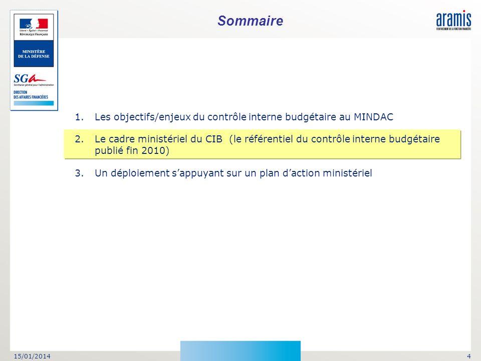 15/01/20144 Sommaire 1.Les objectifs/enjeux du contrôle interne budgétaire au MINDAC 2.Le cadre ministériel du CIB (le référentiel du contrôle interne