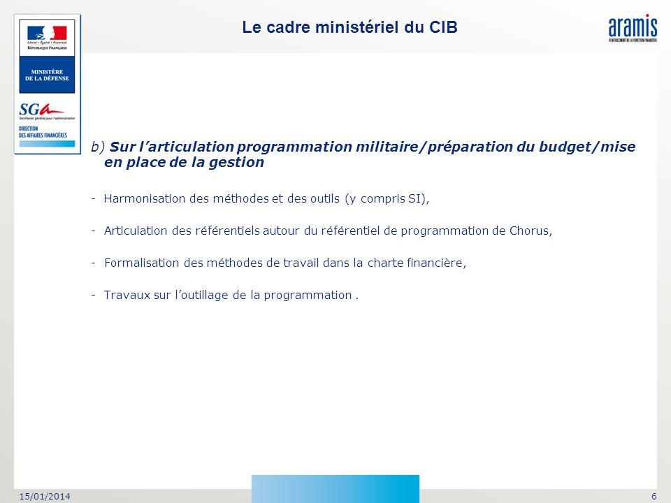 15/01/20146 b) Sur larticulation programmation militaire/préparation du budget/mise en place de la gestion -Harmonisation des méthodes et des outils (