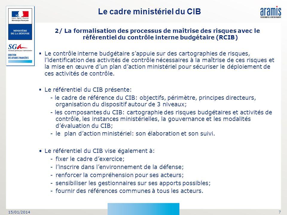 15/01/20147 Le cadre ministériel du CIB 2/ La formalisation des processus de maîtrise des risques avec le référentiel du contrôle interne budgétaire (