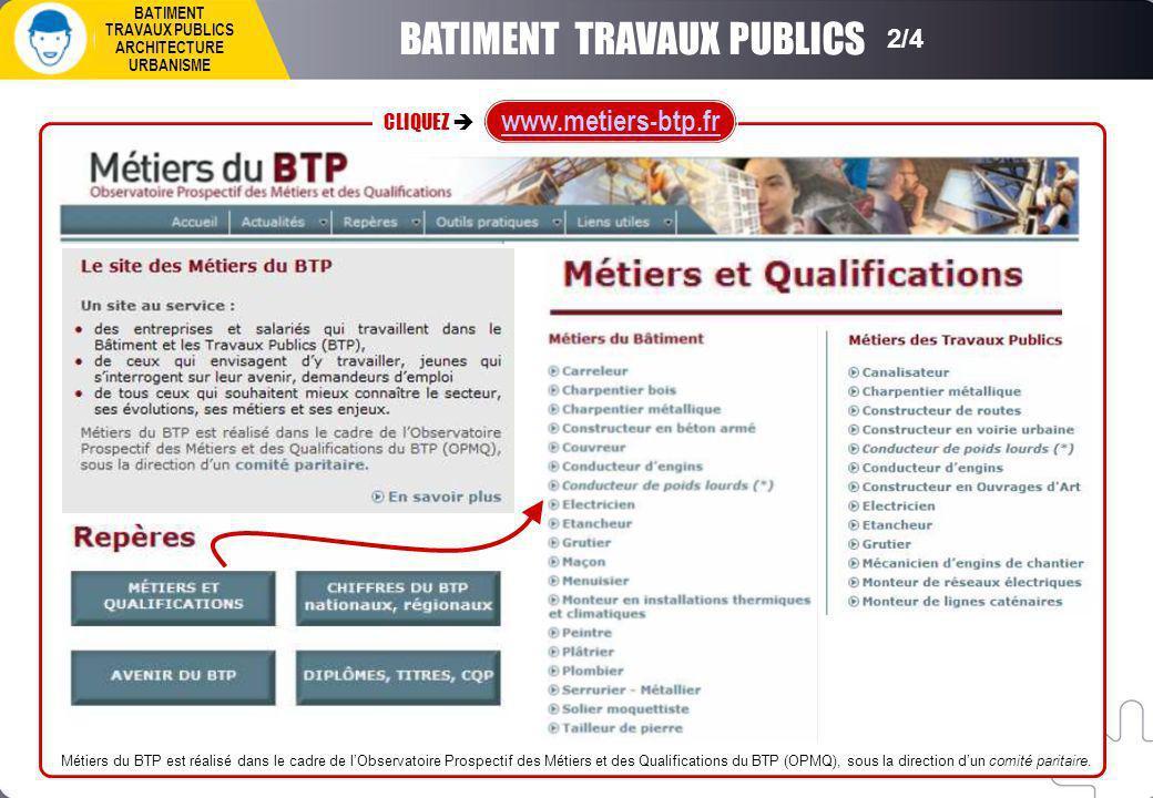 Métiers du BTP est réalisé dans le cadre de lObservatoire Prospectif des Métiers et des Qualifications du BTP (OPMQ), sous la direction dun comité paritaire.
