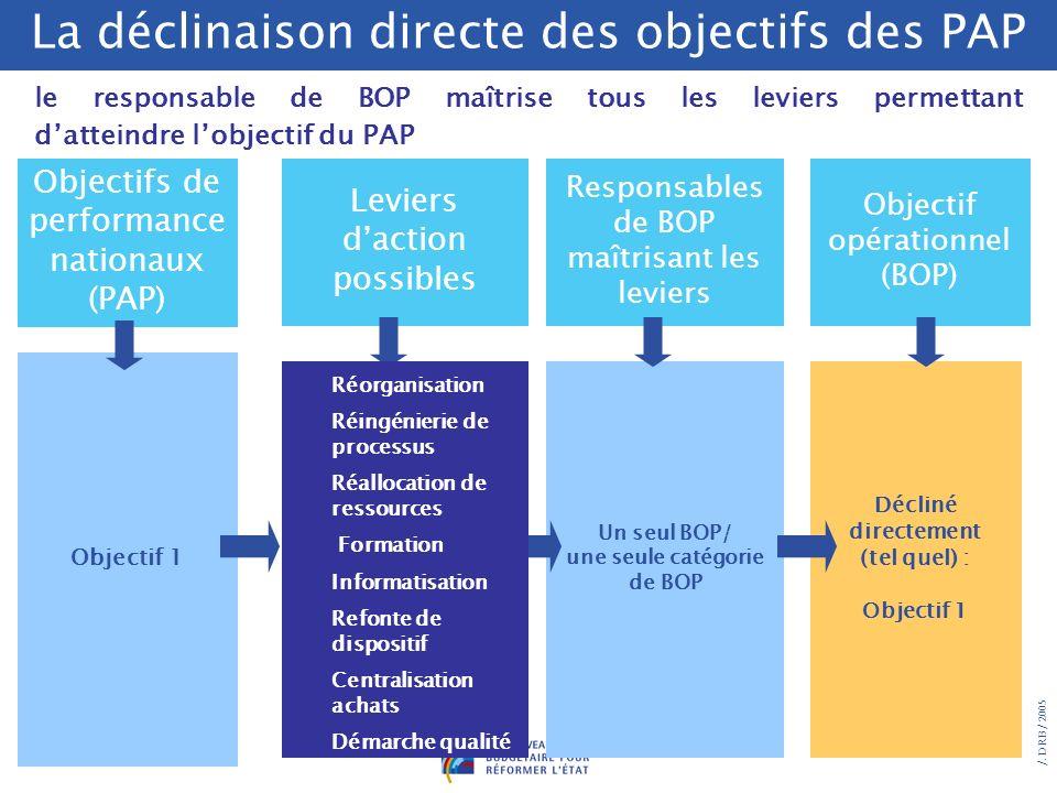 /. DRB/ 2005 Principes de la déclinaison opérationnelle des objectifs des PAP Valeur cible adaptée à des champs dapplication particuliers : réseaux, d