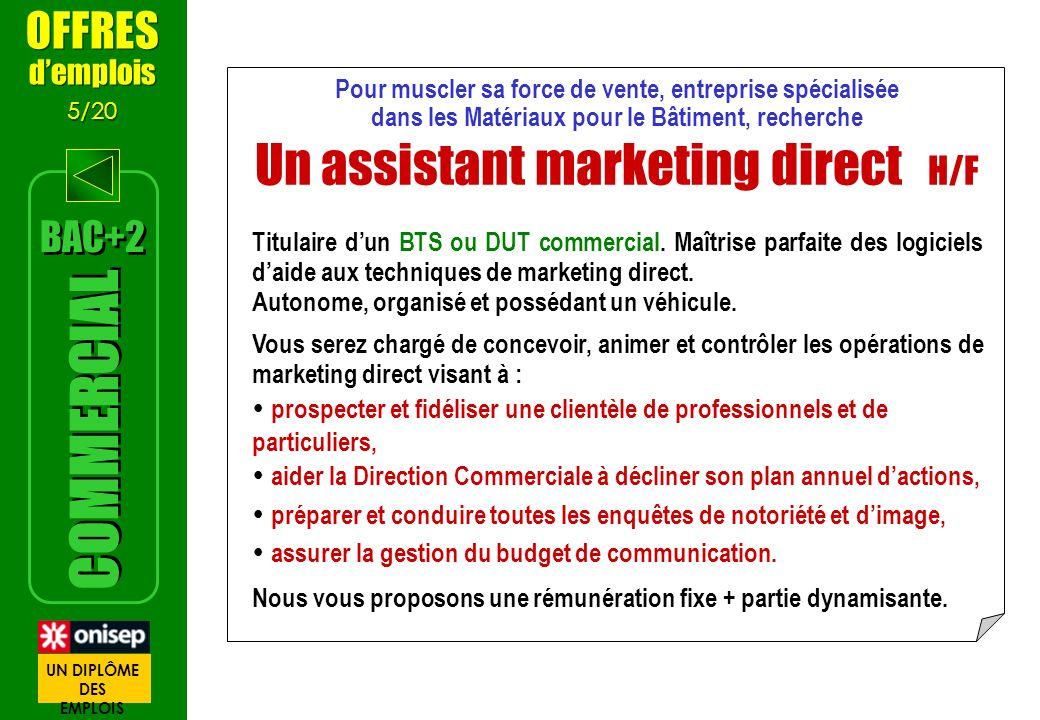 Pour muscler sa force de vente, entreprise spécialisée dans les Matériaux pour le Bâtiment, recherche Un assistant marketing direct H/F Titulaire dun