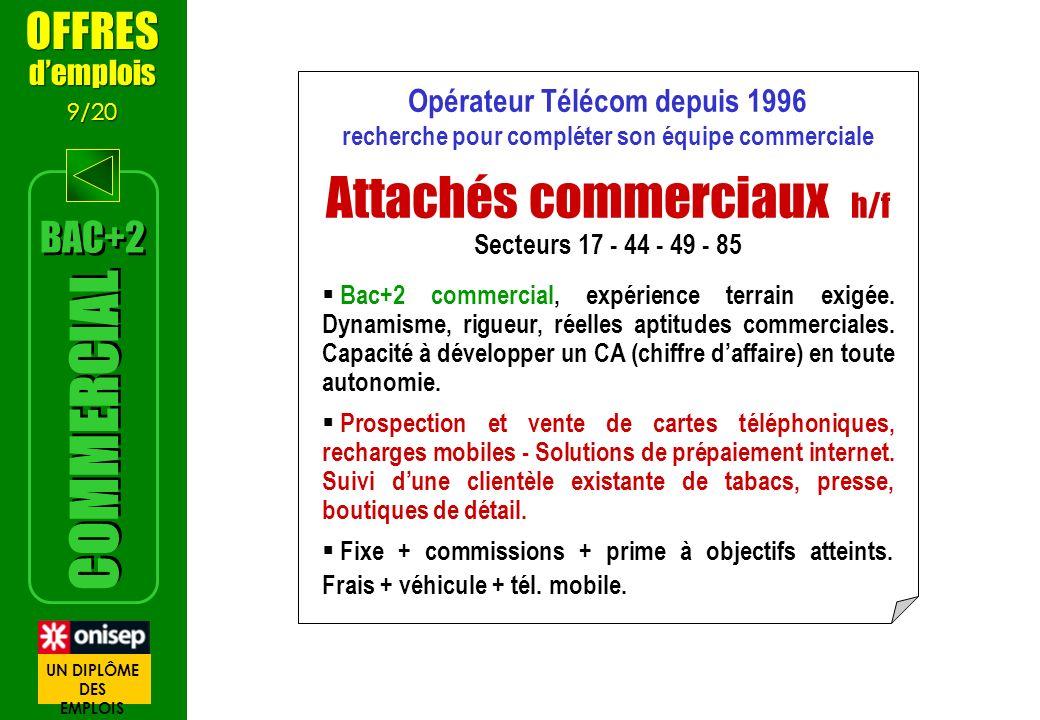 Opérateur Télécom depuis 1996 recherche pour compléter son équipe commerciale Attachés commerciaux h/f Secteurs 17 - 44 - 49 - 85 Bac+2 commercial, ex