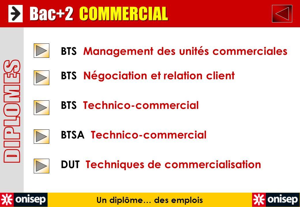 Bac+2 COMMERCIAL Un diplôme… des emplois BTS Management des unités commerciales BTS Négociation et relation client BTS Technico-commercial BTSA Techni