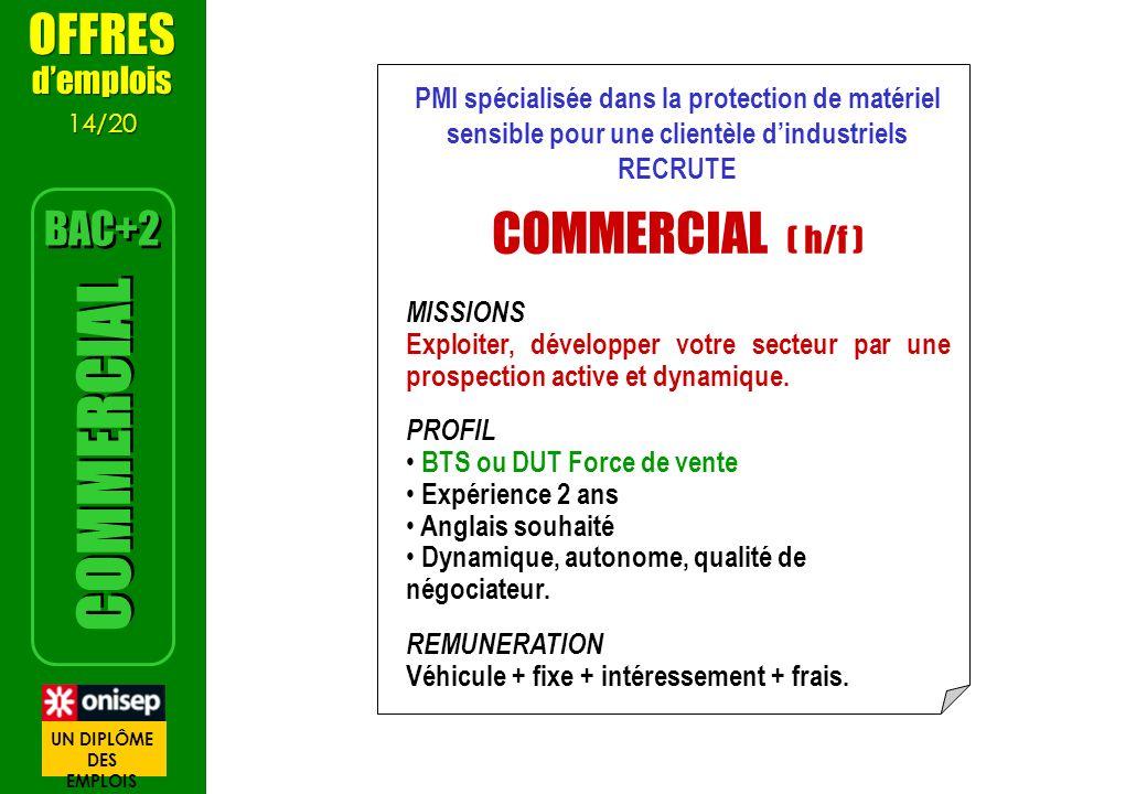 PMI spécialisée dans la protection de matériel sensible pour une clientèle dindustriels RECRUTE COMMERCIAL ( h/f ) MISSIONS Exploiter, développer votr