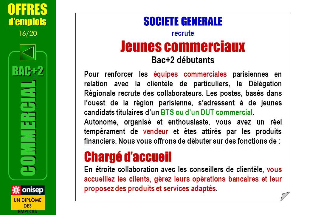 SOCIETE GENERALE recrute Jeunes commerciaux Bac+2 débutants Pour renforcer les équipes commerciales parisiennes en relation avec la clientèle de parti