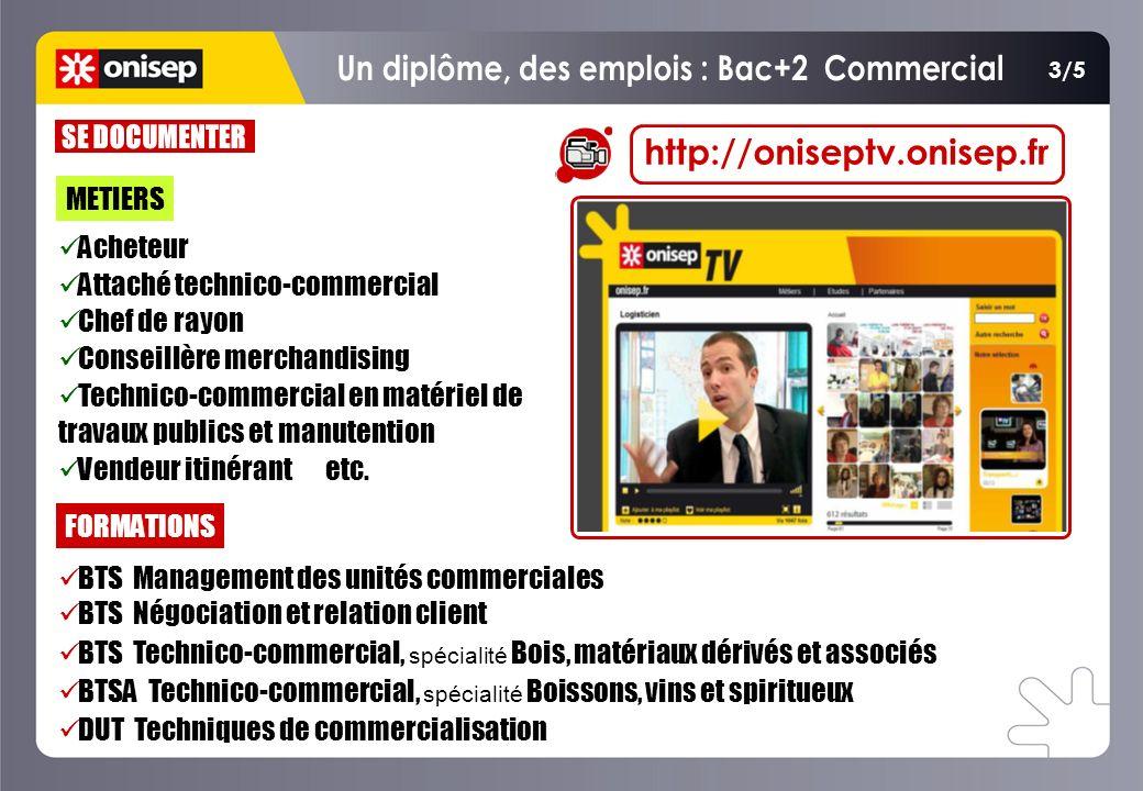 METIERS http://oniseptv.onisep.fr FORMATIONS BTS Management des unités commerciales BTS Négociation et relation client BTS Technico-commercial, spécia