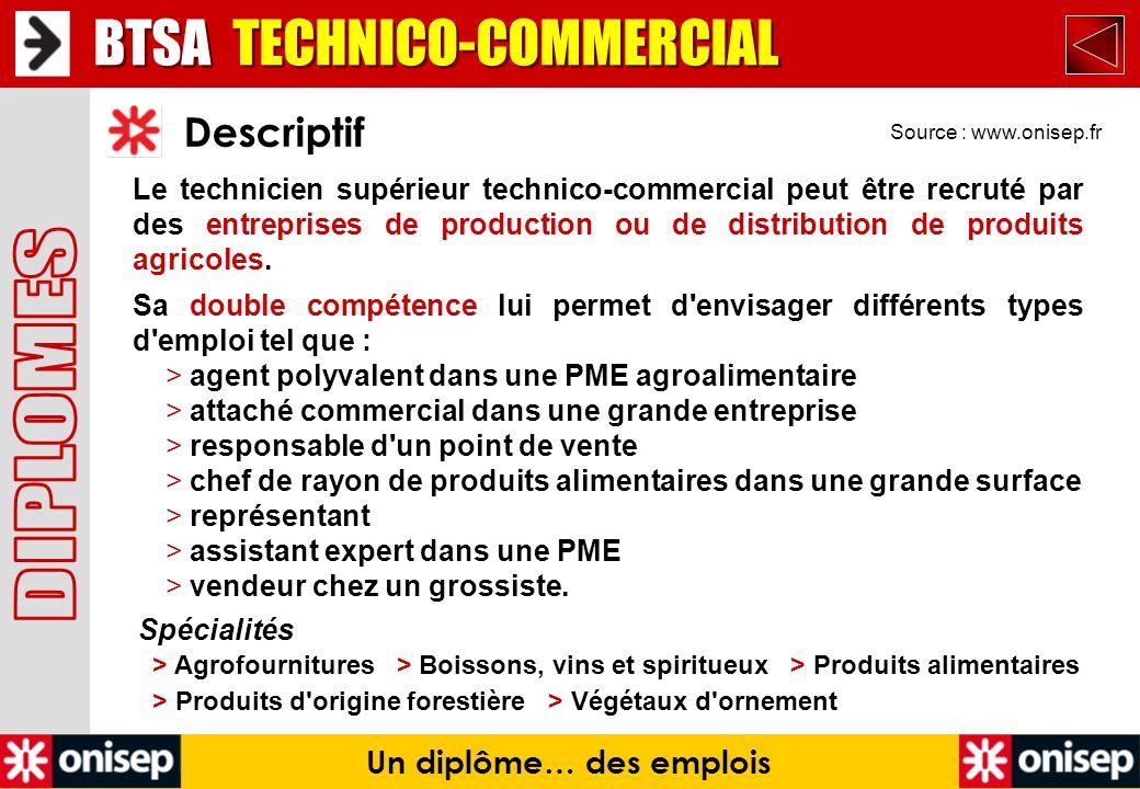 Source : www.onisep.fr Descriptif Un diplôme… des emplois Le technicien supérieur technico-commercial peut être recruté par des entreprises de product
