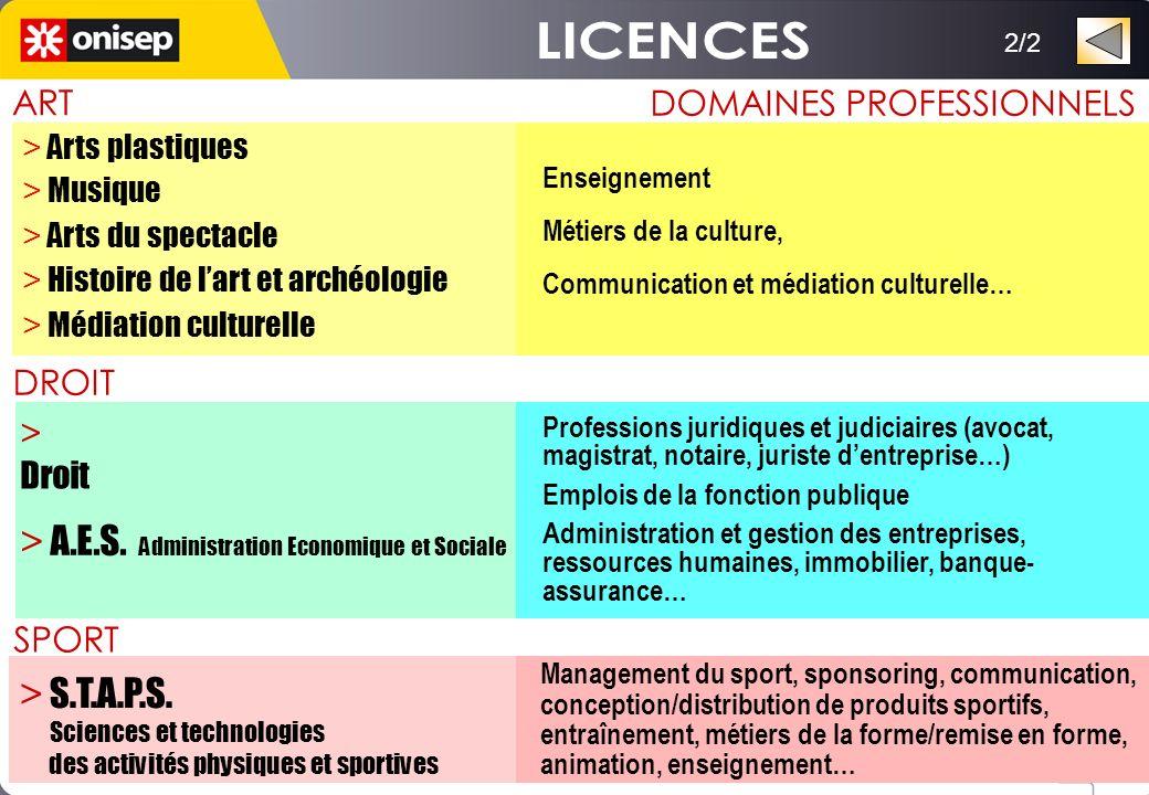 2/2 > Droit DROIT DOMAINES PROFESSIONNELS Professions juridiques et judiciaires (avocat, magistrat, notaire, juriste dentreprise…) Emplois de la fonct