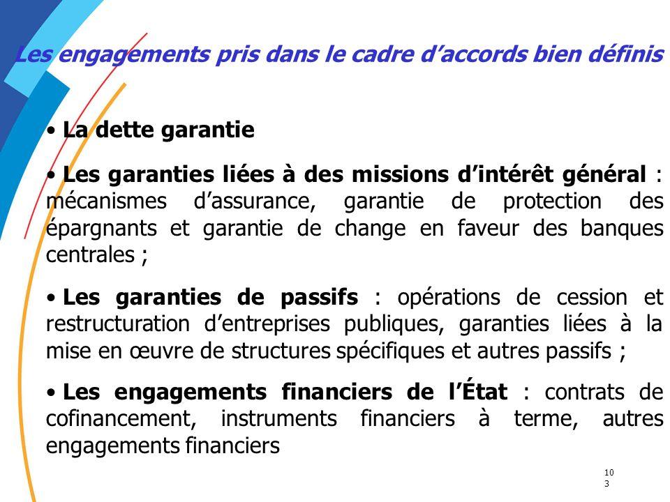 10 3 Les engagements pris dans le cadre daccords bien définis La dette garantie Les garanties liées à des missions dintérêt général : mécanismes dassu