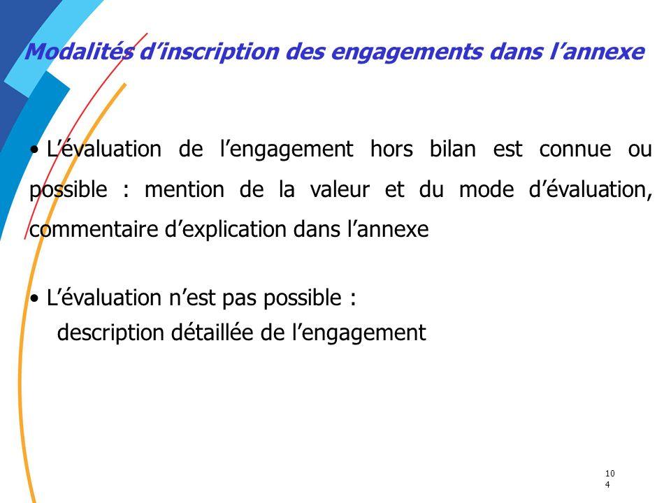 10 4 Modalités dinscription des engagements dans lannexe Lévaluation de lengagement hors bilan est connue ou possible : mention de la valeur et du mod