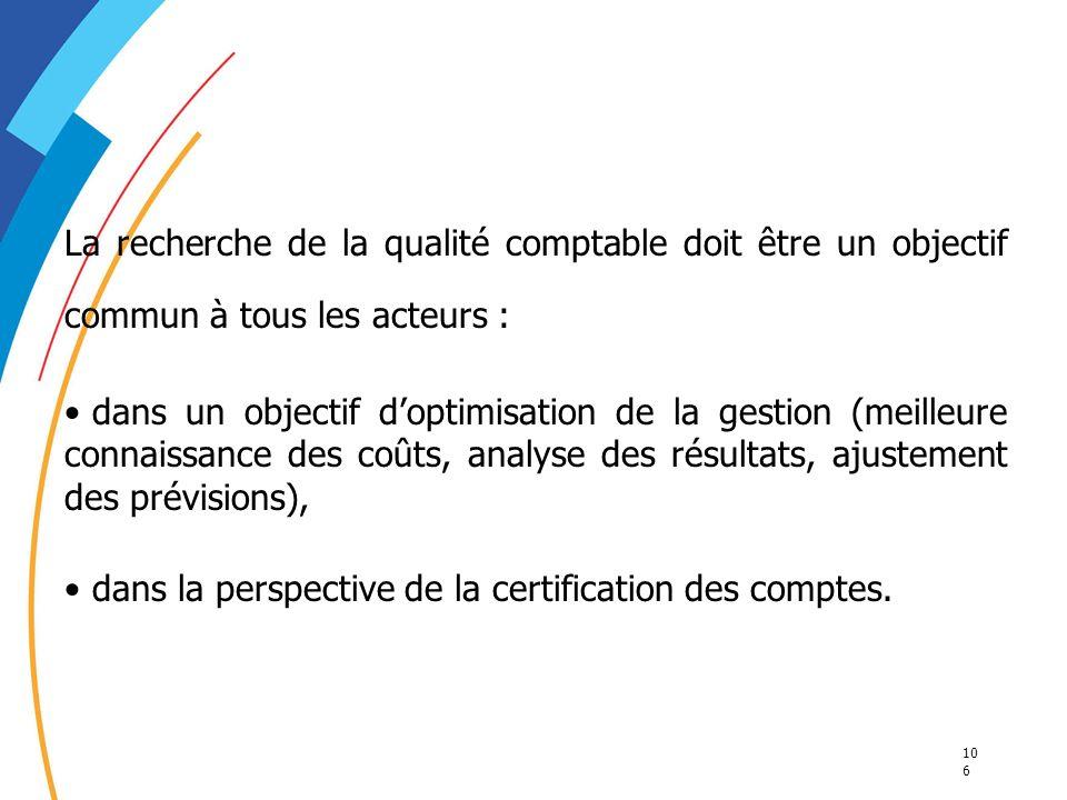 10 6 La recherche de la qualité comptable doit être un objectif commun à tous les acteurs : dans un objectif doptimisation de la gestion (meilleure co