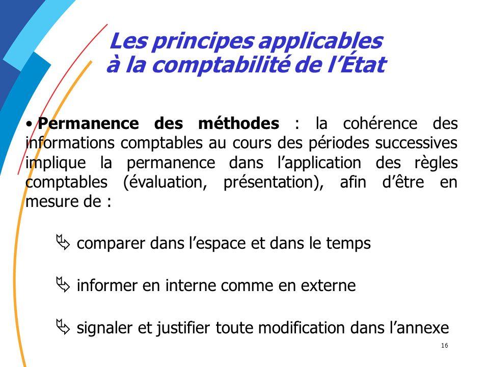 16 Les principes applicables à la comptabilité de lÉtat Permanence des méthodes : la cohérence des informations comptables au cours des périodes succe