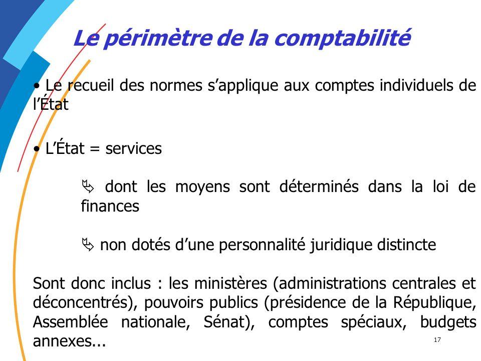 17 Le périmètre de la comptabilité LÉtat = services dont les moyens sont déterminés dans la loi de finances non dotés dune personnalité juridique dist