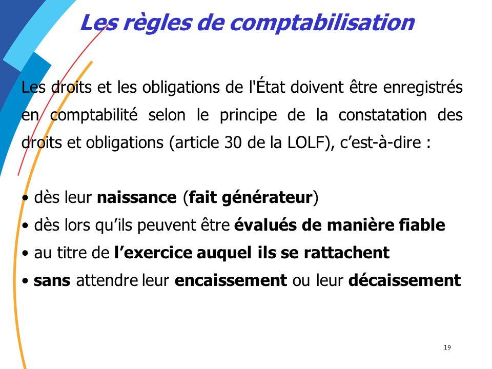 19 Les règles de comptabilisation Les droits et les obligations de l'État doivent être enregistrés en comptabilité selon le principe de la constatatio