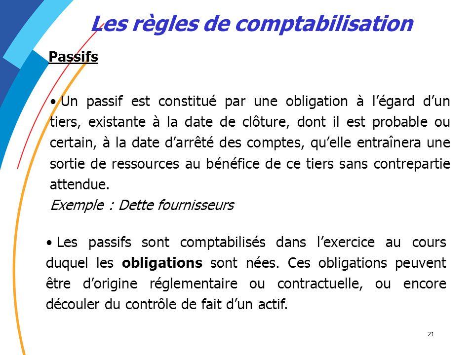 21 Les règles de comptabilisation Un passif est constitué par une obligation à légard dun tiers, existante à la date de clôture, dont il est probable
