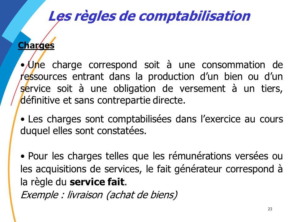23 Les règles de comptabilisation Une charge correspond soit à une consommation de ressources entrant dans la production dun bien ou dun service soit