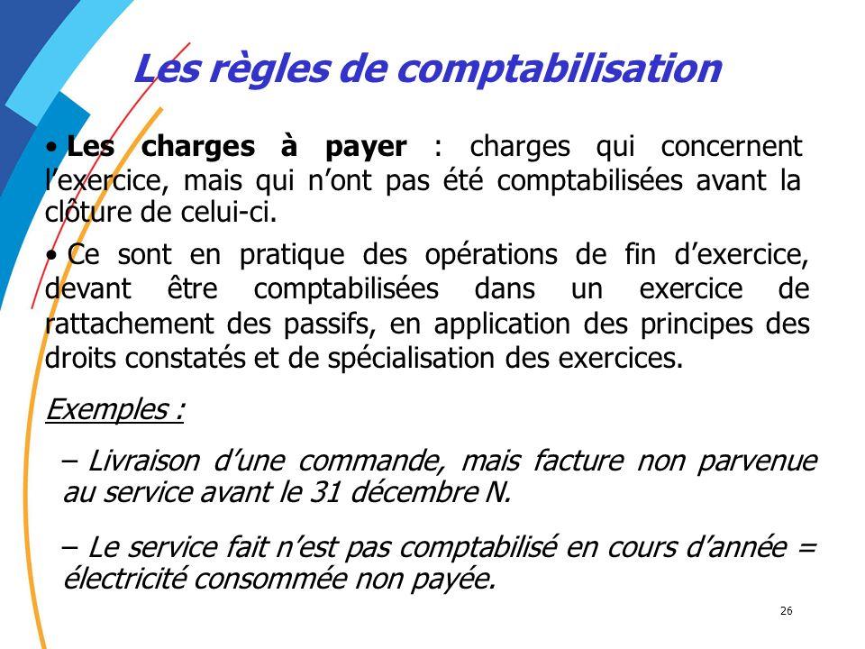 26 Les règles de comptabilisation Les charges à payer : charges qui concernent lexercice, mais qui nont pas été comptabilisées avant la clôture de cel