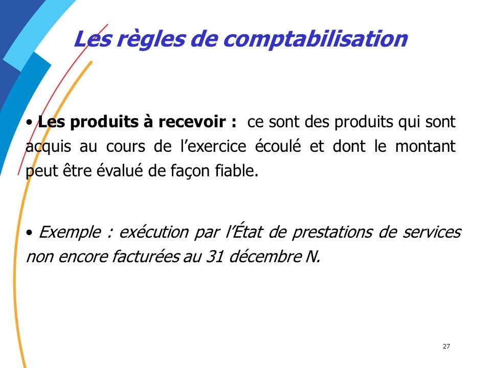 27 Les règles de comptabilisation Les produits à recevoir : ce sont des produits qui sont acquis au cours de lexercice écoulé et dont le montant peut