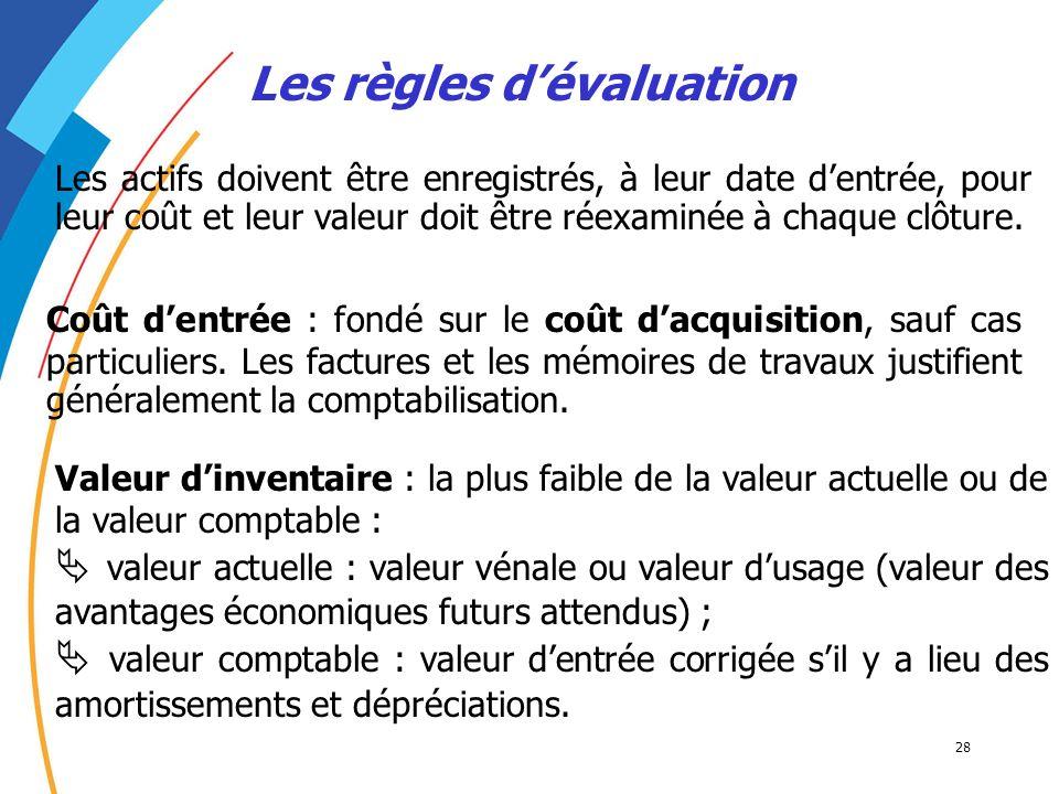 28 Les règles dévaluation Les actifs doivent être enregistrés, à leur date dentrée, pour leur coût et leur valeur doit être réexaminée à chaque clôtur
